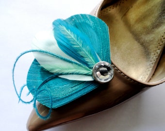 Petite Shoe Clip Collection - Aqua, Turquoise and Mint Peacock Feather Shoe Clips
