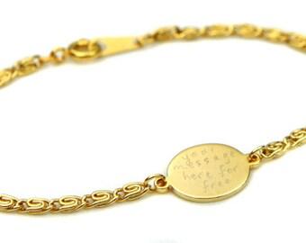 Birdhouse Jewelry - Custom Inscription Gold Bracelet