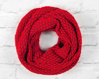 Red Infinity Scarf, Pure Cotton Scarf, Red Oversized Scarf, Red Wide Scarf, Red Cotton Scarf, Red Circle Scarf, Grey Infinity Scarf,