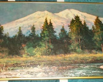 Vintage 1970 Well Framed Robert Wood Mount Shasta Print 12 X 24 Inches Number 404 By Winde Fine Prints