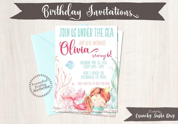 Princess Mermaid Customizable Birthday Invitations, Mermaid, Beach, Girl Birthday, Ocean, Printable Invitations, Coral, Pink, Teal 064