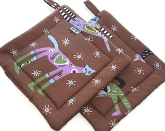 Handmade Quilted Pot Holders  set of 2 It's Raining Cats Potholders