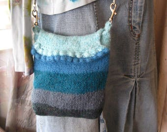 Hand Knit, Shades of Blue and Gray Stripes with bobbles , Cross Body Bag, Shoulder Bag, Simple Bag, Small Essentials Bag, Long Strap Bag