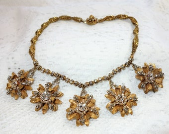 Stunning Miriam Haskell Russian Gold Plated Rhinestone Flowers and Rose Montees Fringe Necklace