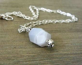 Chalcedony Chain Necklace Lobster Clasp 18 Inch