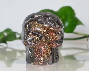Orgone Energy Mini Skull - 1 pc -Quartz Crystal, Pyrite, Blue Kyanite