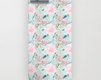 Cell Phone Case, Butterflies, bluebirds and roses on powder blue