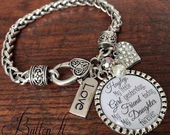 Mother daughter bracelet, personalized wedding, mother daughter jewelry, wedding gift for BRIDE from mom, Daughter in law, charm bracelet