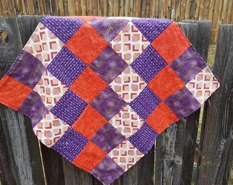 Modern Baby Girl Quilt, Boho Baby Quilt, Purple Quilt, Baby Security Blanket, Modern Quilt, Baby Girl Nursery, Baby Shower Gift, Minky Quilt