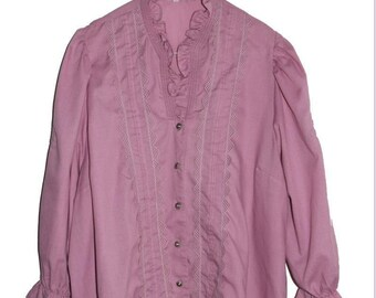 B_001) Vintage Old pink ruffle blouse