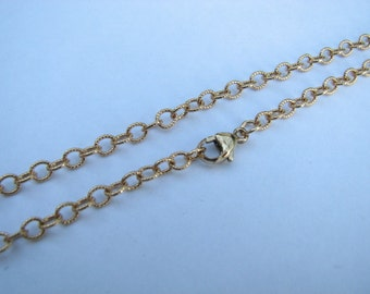17 inch Gold Cable Chain Necklace Dainty Gold Necklace Antique Textured Goldfill Link Chain for Layering or Charms