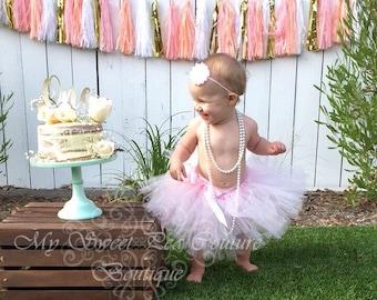 Light Pink Tutu & Headband Set- Tutu- Princess Tutu- Baby Tutu- 1st Birthday Tutu- Cake Smash Tutu- Birthday Tutu- First Birthday-Photo Prop