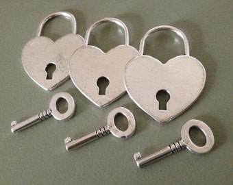 10 Antique Silver Lock and Key Sets Large Heart Lock With Key Silver Key To My Heart Charms Set