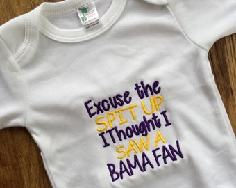 tigers baby gift, excuse the spit up, louisiana bodysuit, tigers bodysuit