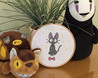 JiJi black cat 'kikis dilivery service' cross stitch ghibli