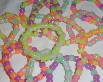 Plastic beaded glow-in-the-dark bracelets