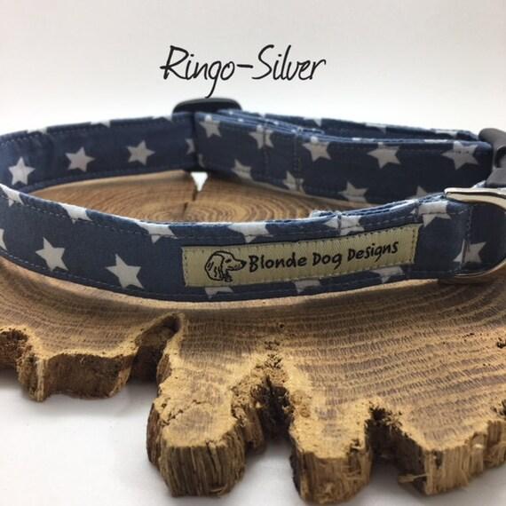 Star Dog Collar, or, Star Dog Lead, Ringo, Silver, Dog Collar UK