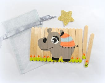 Puzzle for kids, Puzzle Hippopotamus, Wooden animals puzzle, Children's puzzle, Busy bag activity, Travel game, Christmas gift for kids