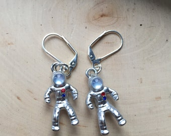 astronaut dangle earrings, gift for your space loving friend
