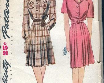 "Vintage 1944 Simplicity 1112 WWII Yoked Shirtwaist Dress Sewing Pattern Size 14 Bust 32"""