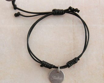 """Man or mixed """"One"""" personalized cotton black bracelet"""