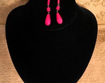 Vintage Red Glass Dangle Earrings