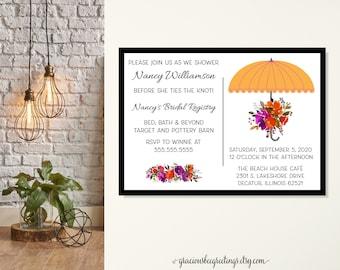 Umbrella Bridal Shower Invitation, Wedding Shower Invitation, Vintage Umbrella Shower, Traditional Shower Invite, Shower the Bride to Be