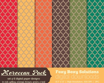 Moroccan Pattern on Kraft Digital Paper Pack: set of 6 digital papers in red, yellow, brown, orange, teal, and green  Instant Download