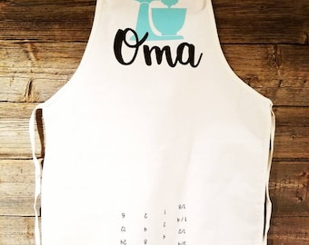 Personalized Apron. Conversion Chart. Gift for mom.