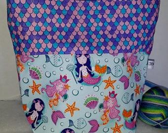 Medium or Large Project WIP Tote Bag, Mermaids Under the Sea, Ocean Princess, Scales, Sea Shells, Star Fish  Inspired, Zipper or Drawstring
