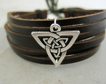 Celtic Leather Bracelet Silver Celtic Shield Brown Cuff