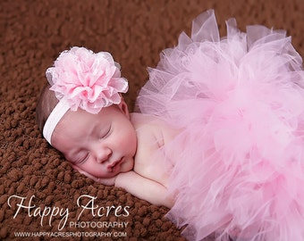PINK tutu....newborn tutu, baby tutu with matching headband, newborn photography ....birthday tutu
