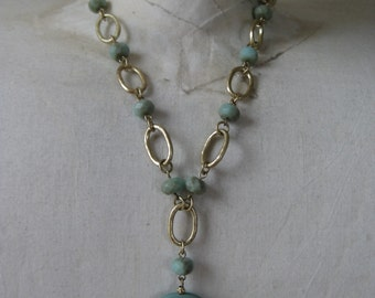 Chunky Aqua Gold Necklace Vintage