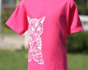 Cat on Hot Pink Toddler T Shirt 2T 3T 4T 5/6T