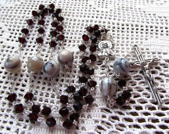 Rosary of 6mm Swarovski Garnet Color Bicones and 10mm Natural Striped Agate Rounds