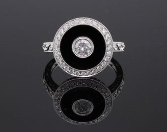 Art Deco Inspired 18K White Gold Onyx & Diamond Ring