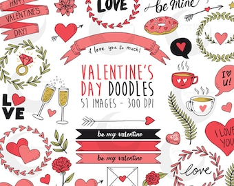 Valentine's Day Doodles - Banners, Hearts, Wreaths Clipart Set - Commercial Use