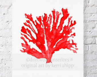 Sea Coral Art Print in Ruby Red 8x10 - Sea Life Art Print - Coral Art Print - Watercolor Art Print - Giclee Print