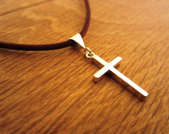Sterling Silver Cross Pendant Necklace - Leather Cord and Sterling Silver Necklace