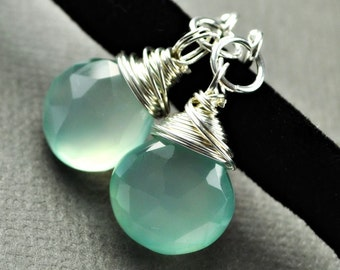 Aqua Wire Wrapped Drop Earrings Sterling Silver or Gold