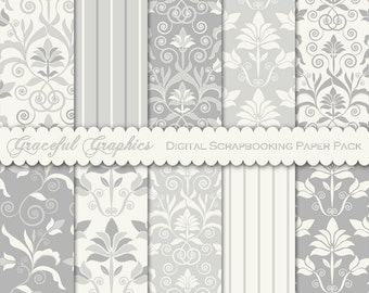 Scrapbook Paper Pack Digital Scrapbooking Background Papers 10  8.5 x 11 DAMASK Pattern 2 Grays Greys White Floral 1812gg