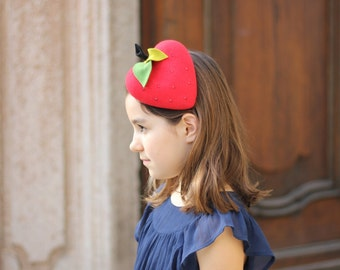 Red Strawberry Beret Girls, Little Girls Mini Top Hat, Girls Fascinator Hat, Fancy Hats, Tea Party Hats, Girls Mini Hats