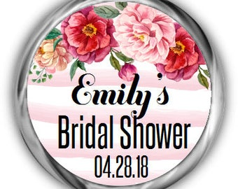 Floral Bridal Shower Hershey Kisses Stickers • Personalized Bridal Shower Sticker