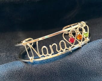 Nana Bracelet with Birthstones~Personalized in Silver or Gold~Custom Made~Mom~Mother~Grandma~Couples~Twin Mom~New Mom~Mommy~Handcrafted Gift