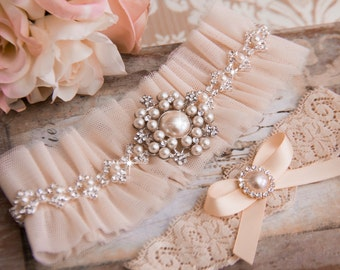 Blush Wedding Garter Set, Blush Bridal Garter Set, Tulle Garter, Blush Tulle Wedding Garter, Blush Tulle Wedding Garter, Pearl Garter