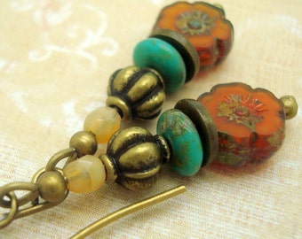 Orange and Blue Boho Earrings in a Zen Stacked Style with Pumpkin and Turquoise Glass Beads