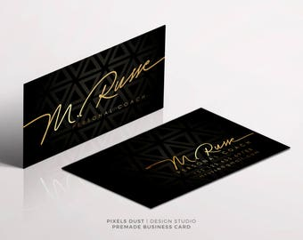 Premade Business Card Template, Business Card Design, Gold Black, Luxury, Luxurious Business Card, Signature,Glam, Modern, Femine Designs