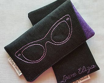Custom made and Personalised Sunglasses Sleeve Case - Embroidered Glasses Case
