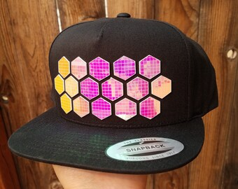 Honeycomb Flat Brim Hat in Red with Super Reflective Writing and Snap Back Fit
