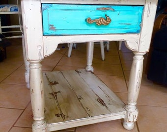 Hand Painted Nightstand or End Table Seahorse Pull Ethan Allen